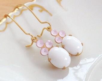 Milk Glass Earrings, Pink Rhinestone Earrings, White Dangle Earrings, White Earrings, Pink Earrings, Milk Glass Cabochons, Pink Rhinestones