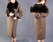 UNWORN 1980's Emanuel UNGARO Parallele, Vintage 20s Style Coat, Wool with Huge FOX Fur Collar, size 6-8, Medium
