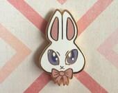 White Bunny Rabbit Hard Enamel Lapel Pin