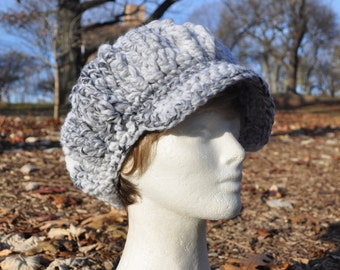 Gray and White Newsboy Hat - Crocheted Hat in Wool Acrylic Blend - Women's Hat with Brim - Chunky Knits - Winter Accessories - Winter Hat