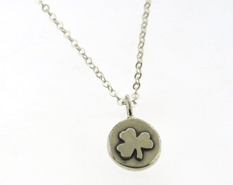 Shamrock Necklace, Lucky Charm, sterling silver charm necklace with lucky clover by Kathryn Riechert