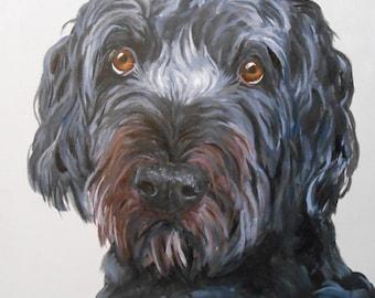 Dog Art Painting, Custom Pet Portrait, Painted, Fine Art,  Oils on Canvas Dog Portrait