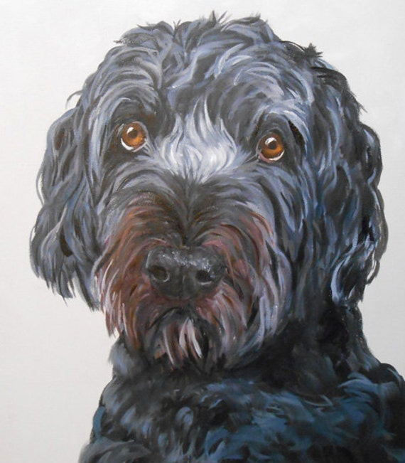 Custom Pet Portrait Painting, Fine Art Oils on Canvas Dog Portrait