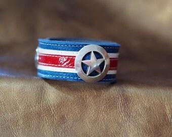 Captain America inspired leather wrist cuff--narrow