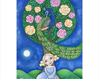 Girl and Peacock wall print blonde girl art A3 folk art peacock print girl's room art peacock wall decor children's wall art peacock picture
