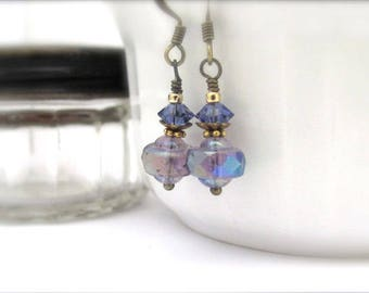 Purple Beaded Earrings Vintage Glass Dangle Drop Amethyst Swarovski Crystals Antiqued Brass Hawaiian Jewelry