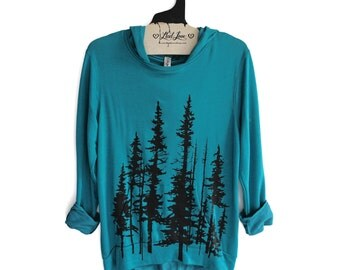 Womens Small - Hooded Sweatshirt Dark Teal SOFT Pullover with Evergreen Trees Screen print