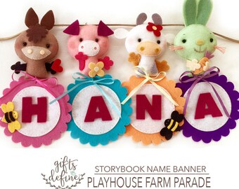 FREE US Ship Custom Personalized Name Banner, Country Farm Barnyard Animals, Hanging Art Felt Banner, Unique Baby Nursery or Kids Room Decor