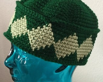 Large Crocheted Pillbox Hat