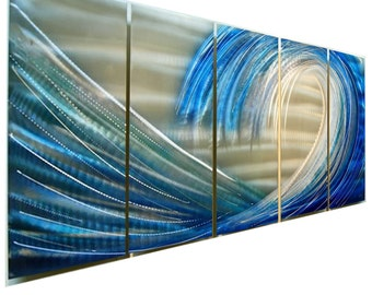 SALE!! Large Ocean Metal Painting in Blue & Silver, Multi Panel Modern Metal Wall Art, Metal Wall Sculpture - Shoot the Curl by Jon Allen