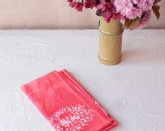 batik tea towel. waterlily coral pink