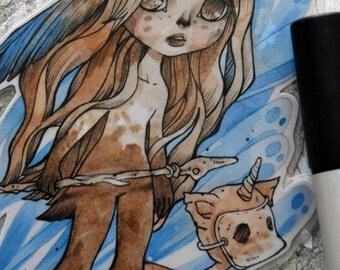 Bookmark - Laminated - Anime - Woodland - Witch - Fairy - Fantasy - The Girl with No Name - OC