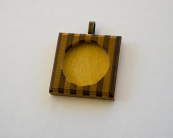 Fine marquetry pendant blank setting finished - 30 mm cavity - Brass Bail - (F353-YW)