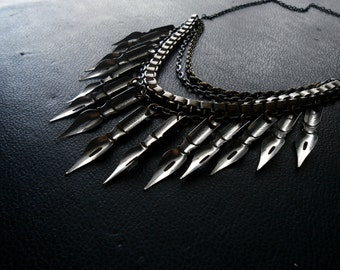 writer's block - antique pen nib fringe spike necklace - handmade repurposed vintage found object jewelry