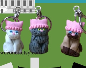 Pussyhat, Feminism, Women's March, Protest, Girl Power, Miniature Cat Polymer Clay Stitch Markers, set of 4, Knitting tool, Crochet Tool