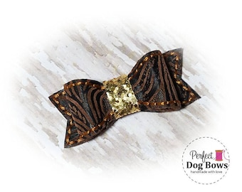 Western Theme Dog Bow, Faux Leather Dog Bow, Cowboy Dog Bows