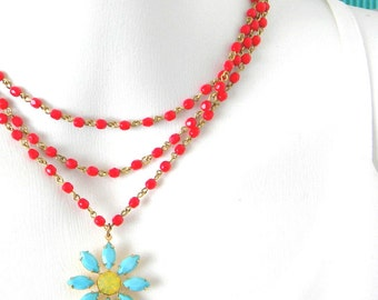 Vintage Glass Turquoise Flower Layered Red Yellow Necklace