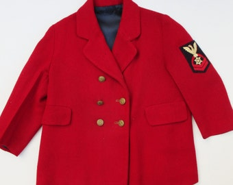 Vintage 40's 50's Coat Toddler's Kid's Red Pea Coat Double Breasted Child's Lined Red Wool Patch Nautical