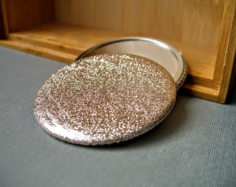 Glitter and Gold, A Champagne Pocket Mirror, Handheld Mirror, Accessory,  New Years Eve, Purse Mirror, Small Mirror, Glitter Party Favors