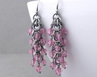 Pink Beaded Earrings Pink Crystal Earrings Dangling Earrings Silver Jewelry Pink Earrings Beaded Jewelry Crystal Jewelry - Shaggy Loops