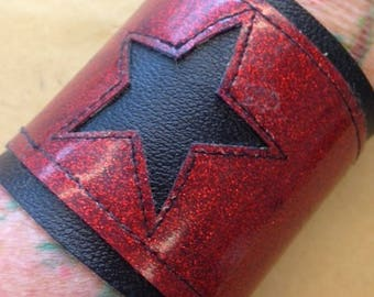 Sale!!! Cool red sparkle vinyl cuff with black star