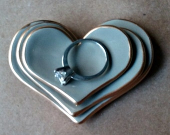 Ceramic Heart Nesting Ring Dishes Taupe Gray edged in gold Set of three