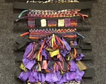 """Hand Dyed Hand Woven Tapestry """"Purple Haze"""" in Cotton, Linen, Hemp,Silk, Handspun Wool, Fabric, Felt"""