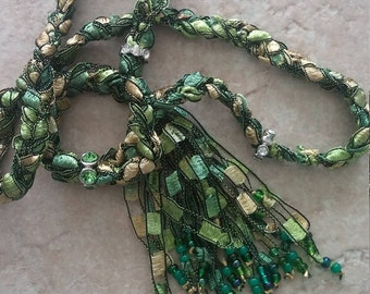Beaded Trellis Necklaces, Green and Gold