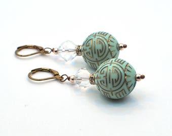 Green Resin Earrings, Green Earrings, Gold Earrings, Green Drop Earrings, Fashion Jewelry, Gift for Her, Dangle Earrings, Lucite - NAYA