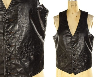 """80s Black Leather Vest / Vintage 1980s Western Leather Hippie Vest / Boho Hipster Bohemian Motorcycle Vest / Made in CA / 39"""" Chest"""