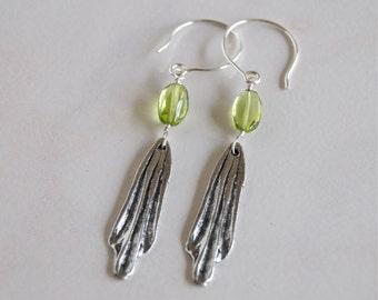 Pewter Drop Earrings Artisan Charm Earrings Handcast Pewter Peridot Silver Earrings AAA Peridot Jewelry Peridot Gemstone Earrings