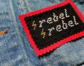 "Rebel Rebel Bowie Inspired Cross Stitch Patch/Jacket Patch/David Bowie/Lightning Bolt detail/Rock and Roll Patch/3.5""x2.5"""