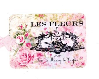 French Floral Gift Tags , Pink Roses Tags , Les Fleurs Tags , Pink Tags , Bluebird Lane Tags