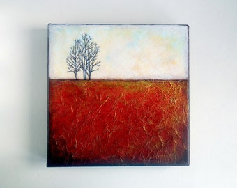 "Original mixed media painting, canvas wall art, texture, metallic gold, red, trees, abstract landscape, 10 x 10"" square"