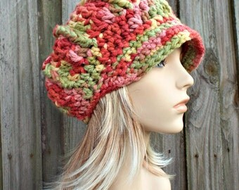 Mixed Color Newsboy Hat Womens Hat - Spring Monarch Ribbed Crochet Newsboy Hat in Summerset - Red Orange Pink Green Yellow