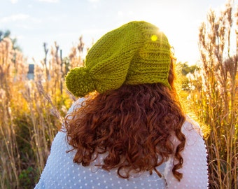 Lemongrass Green Slouchy Hat Womens Hat - Green Hat Green Beanie - Charlotte Slouchy Ear Flap Hat With Pom Pom - Pom Pom Hat