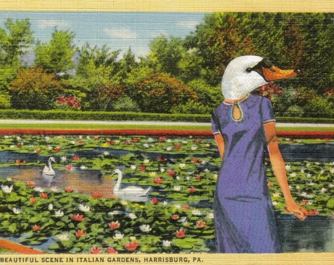 Altered Postcard Art Collage