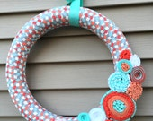 READY to SHIP - Spring Wreath - Summer Wreath - Easter Wreath - Geometric Wreath - Felt Flower Wreath - Mother's Day Wreath - Felt Wreath