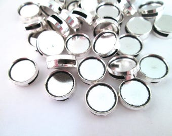 12mm Silver Plated Bezel Slide Charm Pendants, Pick your Amount B196