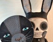 Black Bunny Rabbit Mask Skeleton Hand-Painted Original Folk Art Skelly Doll OOAK