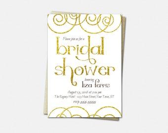 Gold Swirls Bridal Shower Invitations - Gold Swirls Shower Invitations - Printable or Printed - Gold Swirls Wedding Shower Invitations