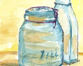Watercolor Original Painting - Still Life