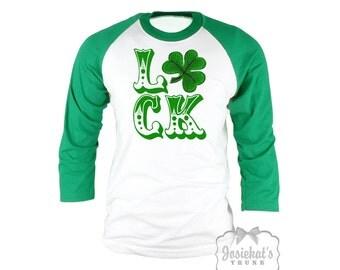 Womens Irish Shirt - St Patrick LUCK TShirt - Shamrock Baseball Green White Shirt - Irish Tee - Custom Size  XS S M L Xl 2XL 3XL