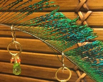 Peridot and Carnelian Dangle Earrings