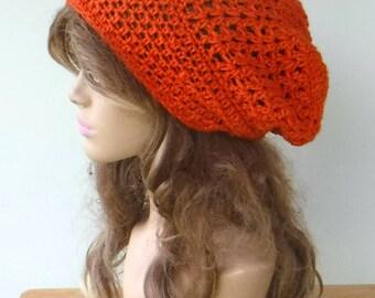 Slouchy beanie bamboo wool hat, tangerine orange woman slouchy hat, crochet beanie hat/handmade beanie hat, handmade beanie hat