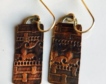 Textured Copper and Sterling Earrings, Dangle Earrings, Copper Earrings, Long Earrings, Bohemian Earrings, Etsy, Etsy Jewelry
