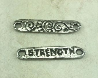 Strength Spiral Green Girl Link Charm - Small Swirl Zen Doodle Strong Spiral 2 Hole - American Artist Made Lead Free Pewter Silver 299