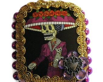 Sugar Skull Mexican Tin//Dia de los Muertos//Day of the Dead//Upcycled Colorful Mexican Art