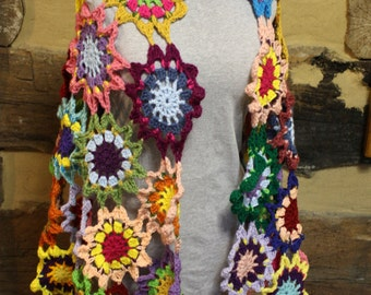 Crochet Hippie Shawl Boho Wrap Colorful Bohemian Patchwork Shawl Gypsy Wrap Rainbow Japanese Flowers Ready to Ship