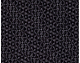 HALF YARD - STOF Fabrics - Asanoha Design Black/Light Grey Colorway - Quilters Basic Harmony Collection 4520-905